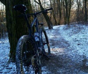 велосипед после поездки зимой
