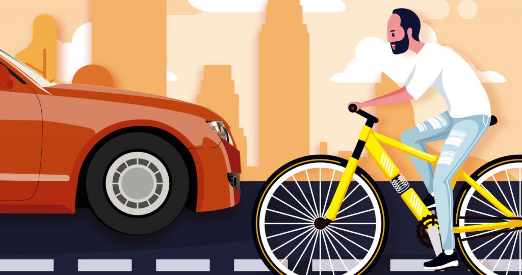 Велорайдер на шоссе